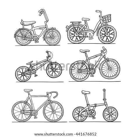 bicycle set, doodle sketch style, black outline coloring vector illustration on isolated white background. - stock vector