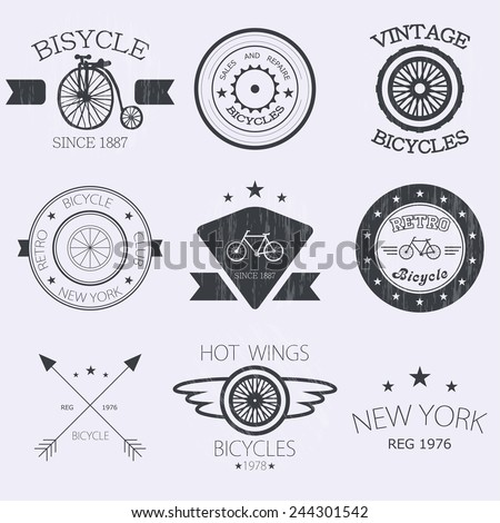 Bicycle Shop Logo Bicycle Shop Logo Set Stock