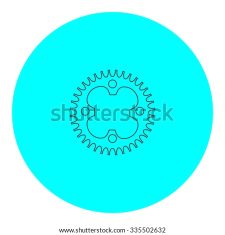 Bicycle sprocket. Black outline flat icon on blue circle. Simple vector illustration pictogram on white background - stock vector