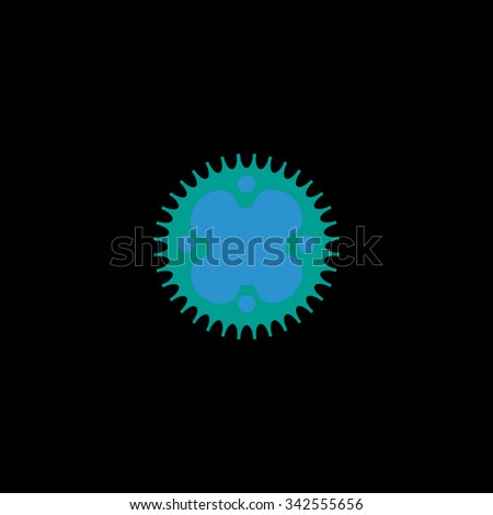 Bicycle sprocket. Color vector icon on black background - stock vector