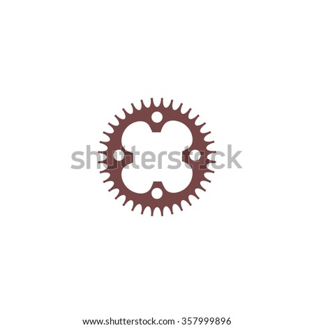 Bicycle sprocket. Colorful vector icon. Simple retro color modern illustration pictogram. Collection concept symbol for infographic project and logo - stock vector