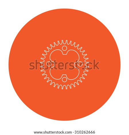 Bicycle sprocket. Flat outline white pictogram in the orange circle. Vector illustration icon - stock vector