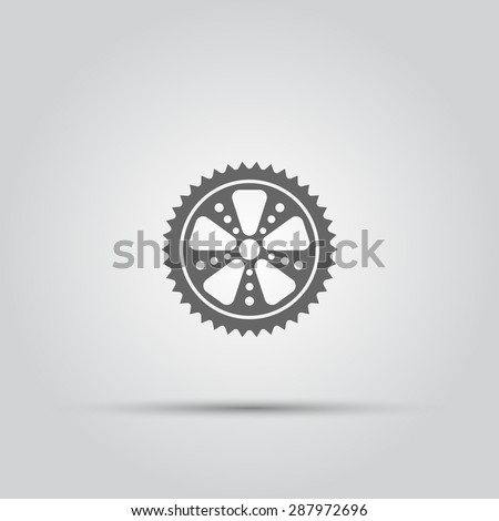 Bicycle sprocket isolated vector icon - stock vector