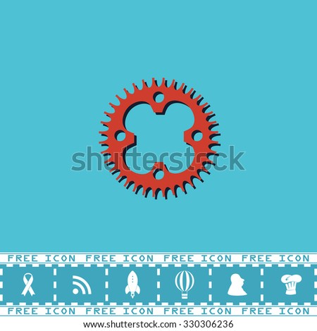Bicycle sprocket. Red flat symbol with dark shadow and bonus icon. Simple vector illustration pictogram on blue background - stock vector