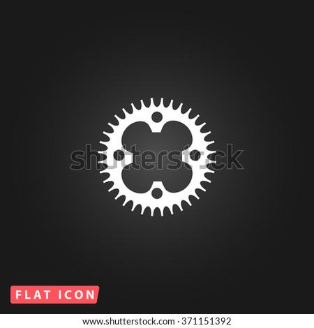 Bicycle sprocket. White flat simple vector icon on black background. Icon JPEG JPG. Icon Picture Image. Icon Graphic Art. Icon EPS AI. Icon Drawing Object. Icon Path UI - stock vector