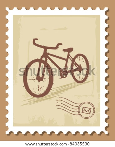 bicycle stamp - stock vector