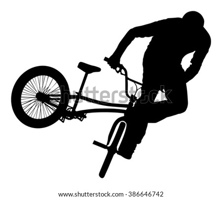 Bicycle stunts vector silhouette isolated on white background. Bike performance. exercising bmx acrobatic figure. - stock vector