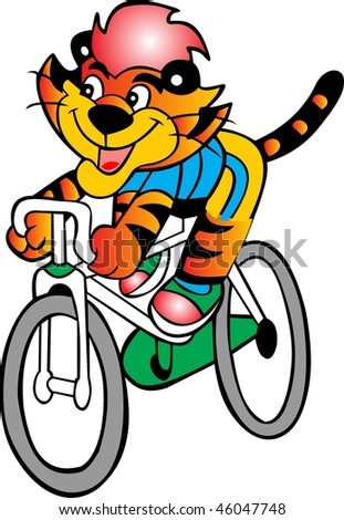bicycle tiger vector - stock vector
