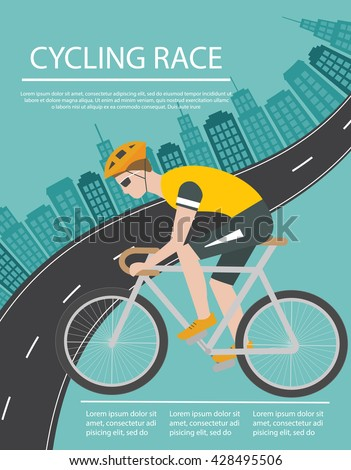 Bicycle trip or race poster or flyer with cyclist riding bike and city - stock vector