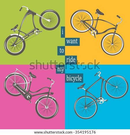 Bicycle Vector illustration. Set with four different bicycles on colorful background: single, chopper, cruiser, tandem.  - stock vector