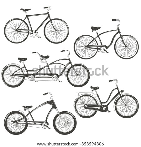 Bicycle Vector illustration. Set with four different bicycles: single, chopper, cruiser, tandem. T-shirt Graphics, Tattoo Designs - stock vector