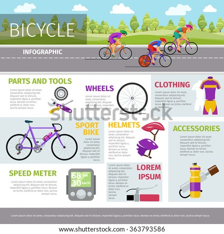 Bicycle vector infographic template in flat style. Sport activity, race and uniform, helmet and bottle illustration - stock vector