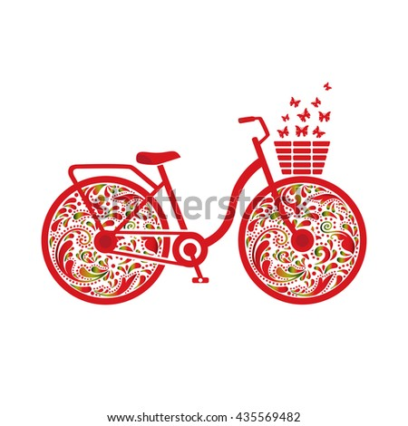 Bicycle vector on a white background. Drawn floral pattern. Isolated object. Sports lifestyle. Logo, icon. Print, shirt design.