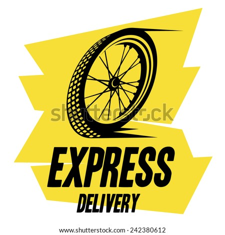 bicycle wheel express delivery - stock vector