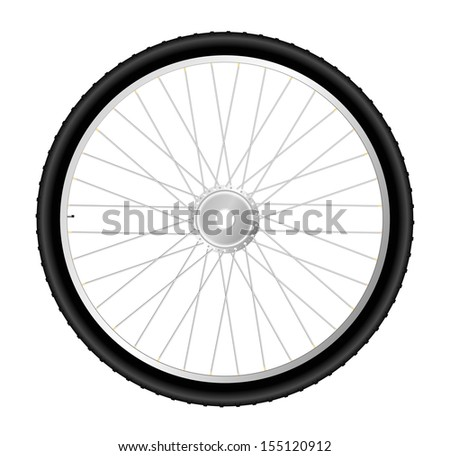 Bicycle wheel isolated on white background. Vector illustration