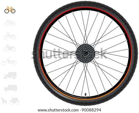 Bicycle wheels. The series of the detailed wheels of the different vehicles. In vector.
