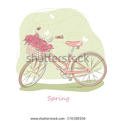 Bicycle with a basket of flowers and butterflies. Vector illustration - stock vector
