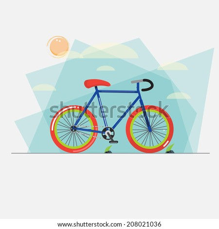 bicycle with abstract sky background - vector illustration