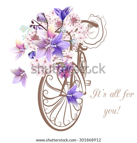 Bicycle with basket full of flowers - stock vector