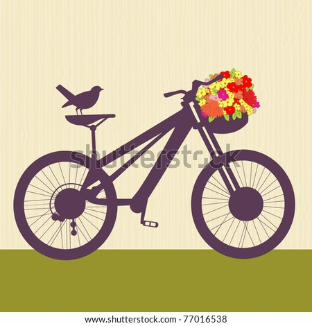 Bicycle with basket of flowers and bird - stock vector