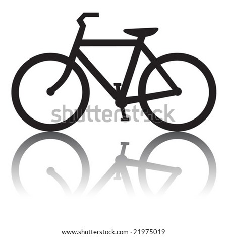 Bicycle with Reflection - stock vector