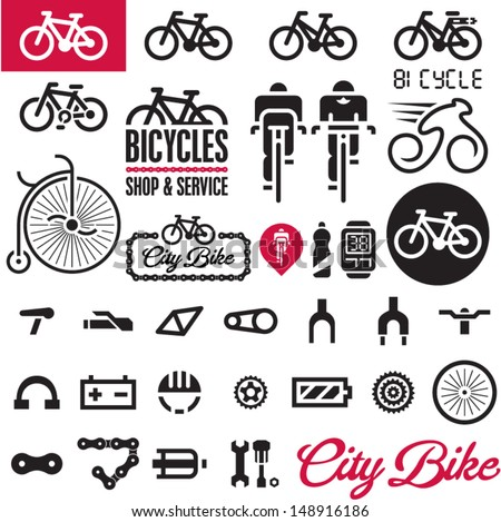 Bicycles. Isolated vector bike accessories set.  - stock vector