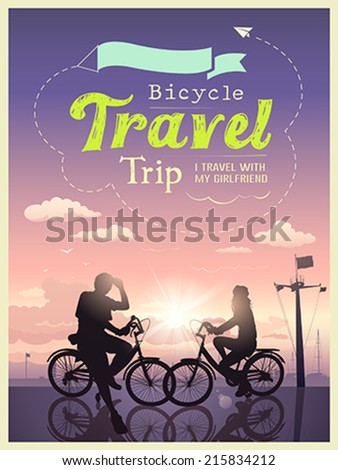 Bicycles travel trip I and my girlfriend, concept design background, vector illustration - stock vector