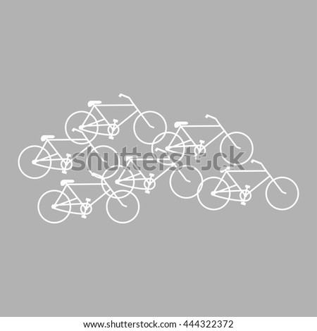 Bicycles white color on gray background - stock vector