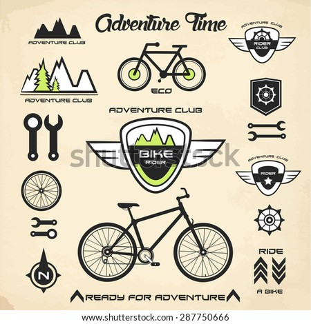 Bicycling; signs and symbols; vector eps 10 - stock vector