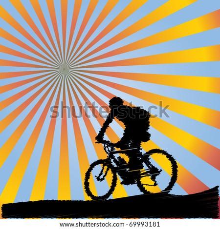Bicyclist - stock vector