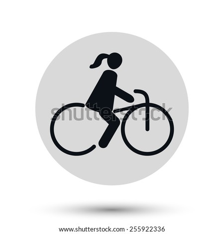 Bicyclist girl icon, transport vector symbol - stock vector