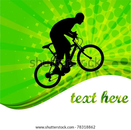 bicyclist on the abstract background - vector - stock vector
