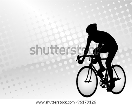 bicyclist on the abstract halftone background - stock vector