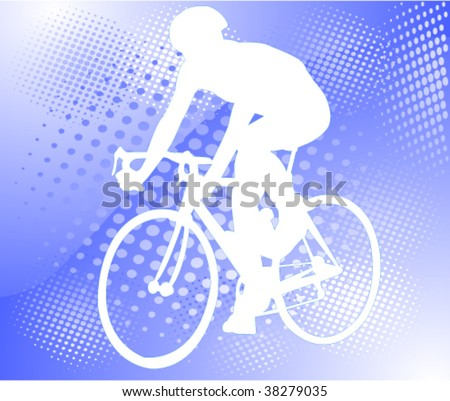 bicyclist on the abstract halftone background - vector - stock vector