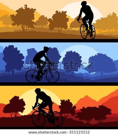 Bicyclist riding bicycle background silhouette vector illustration landscape set with sunsets - stock vector