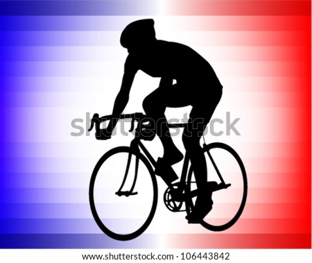 bicyclist silhouette on the tricolor background - stock vector