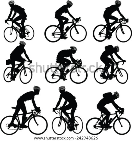 bicyclist silhouette - vector - stock vector