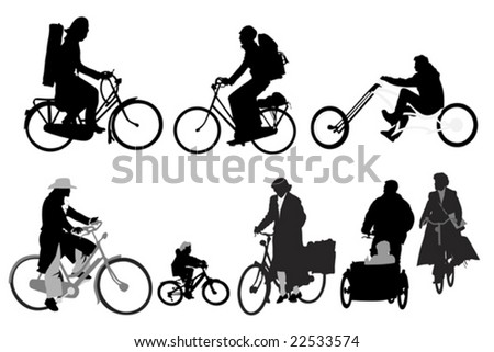 bicyclists - collection of vector silhouettes - stock vector