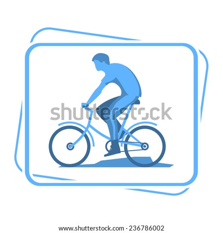 bicyclists silhouette icon - stock vector