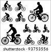 bicyclists silhouettes - stock photo