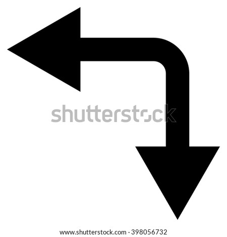Bifurcation Arrow Left Down vector icon. Style is flat icon symbol, black color, white background.