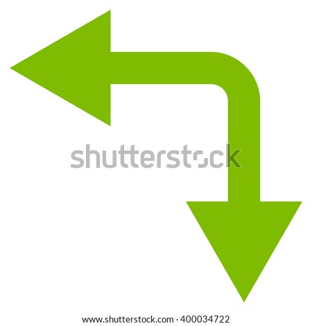 Bifurcation Arrow Left Down vector icon. Style is flat icon symbol, eco green color, white background.