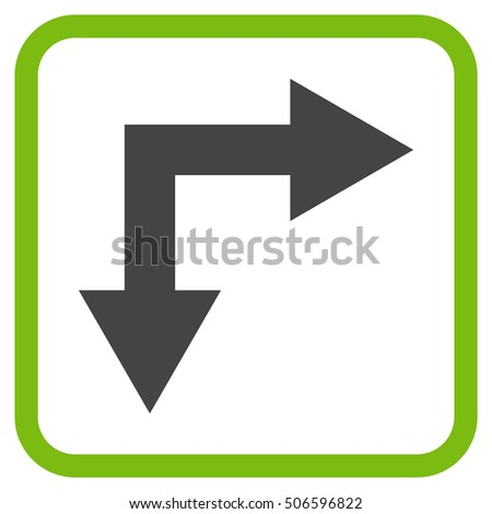Bifurcation Arrow Right Down eco green and gray vector icon. Image style is a flat pictograph symbol inside a rounded square frame on a white background.