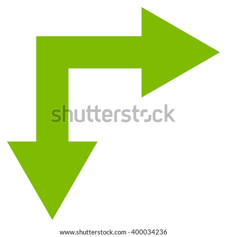 Bifurcation Arrow Right Down vector icon. Style is flat icon symbol, eco green color, white background.