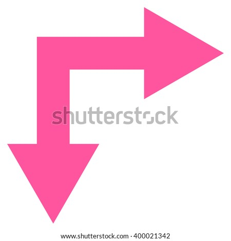 Bifurcation Arrow Right Down vector icon. Style is flat icon symbol, pink color, white background.