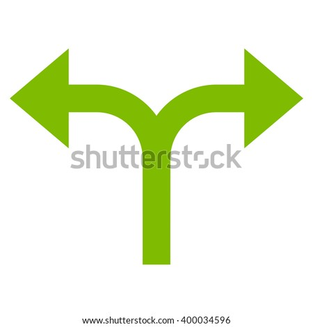 Bifurcation Arrows Left Right vector icon. Style is flat icon symbol, eco green color, white background. - stock vector
