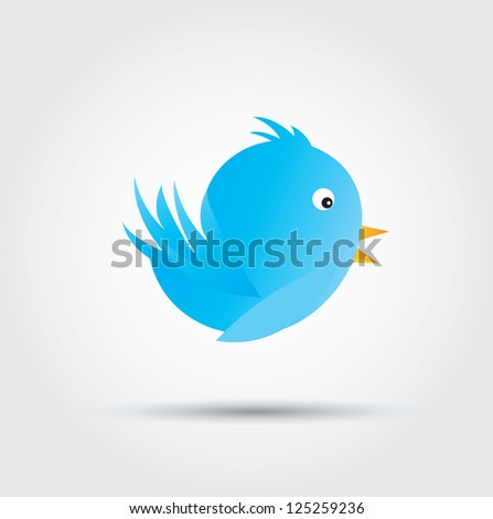 big and blue bird over white background vector illustration - stock vector