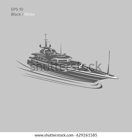 Big And Luxury Yacht Vector Illustration Black White Private Ship Isolated Exclusive