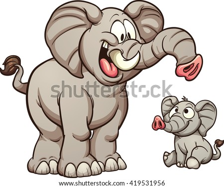 Big and small cartoon elephants. Vector clip art illustration with simple gradients. Each on a separate layer. - stock vector