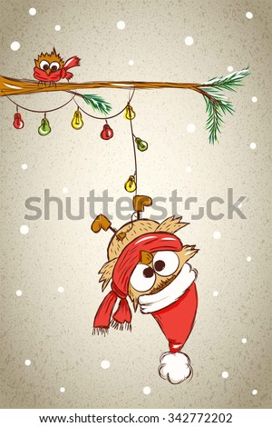 big and small owls on spruce branch with electrical garland, little owl sitting on a branch, large owl hanging upside down on a string of Christmas lights, vector illustration